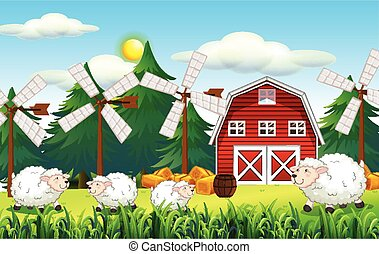 Farm scene with barn and cute sheep