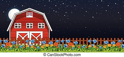 Farm scene with barn and flowers at night