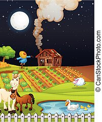 Farm scene with barn and horse at night