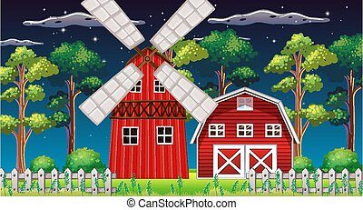 Farm scene with barn and mill at night