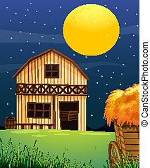 Farm scene with barn and straw at night