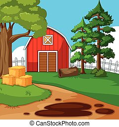 Farm scene with barn and trees