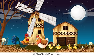 Farm scene with barn and windmill and chicken at night