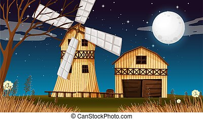 Farm scene with barn and windmill at night
