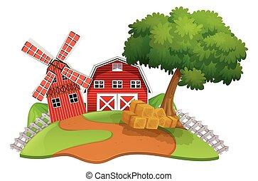 Farm scene with barn and windmill