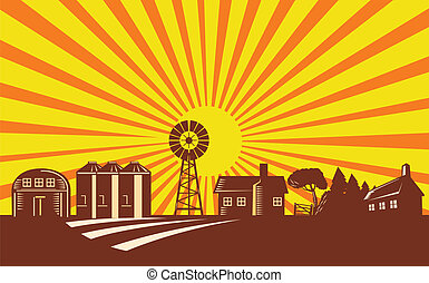 Farm Scene With Barn House Windmill Silo Retro