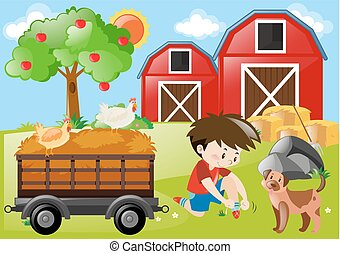 Farm scene with boy and dog in the field