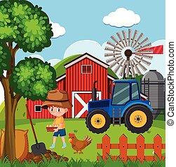 Farm scene with boy and fresh eggs on the farm
