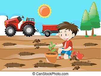 Farm scene with boy planting in the field