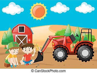 Farm scene with boys and tractor in the field