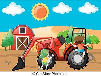 Farm scene with boys on the bulldozer
