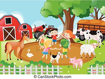 Farm scene with children playing