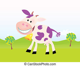 Farm scene with funny violet cow. Cartoon vector Illustration. Easy to resize.