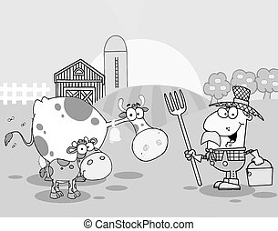 Farm Scene With Cows And Cowman