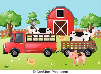 Farm scene with cows on the truck