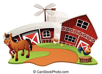 Farm scene with farm animals