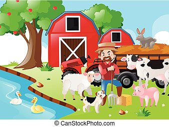Farm scene with farmer and animals by the river