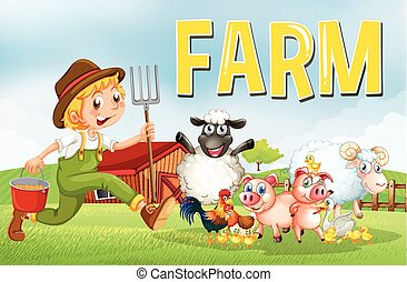 Farm scene with farmer and animals