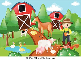 Farm scene with farmer and animals