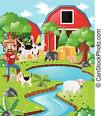 Farm scene with farmer and barn