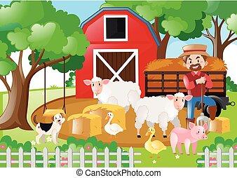 Farm scene with farmer and many animals