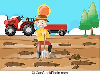 Farm scene with farmer making holes in the ground