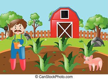 Farm scene with farmer planting in field illustration
