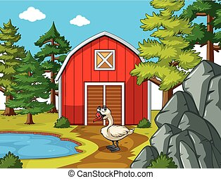Farm scene with goose by the barn