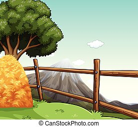 Farm scene with haystack by the fence