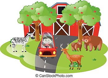 Farm scene with kid in red car