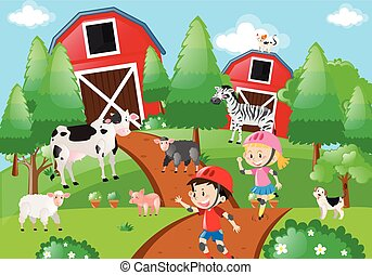 Farm scene with kids skating on the dirt road illustration