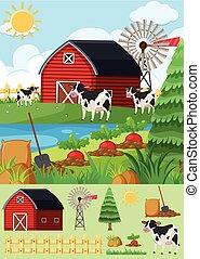 Farm scene with many cows and barn
