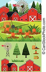 Farm scene with red barn and carrot garden