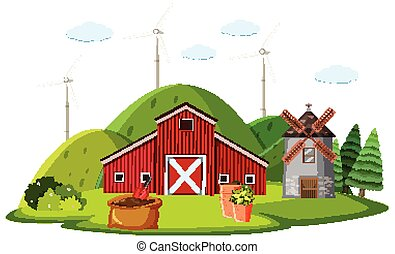 Farm scene with red barn and windmill