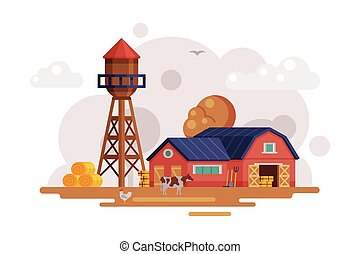 Farm Scene with Red Barn and Wooden Water Tower at Autumn Rural Landscape, Agriculture and Farming Concept Cartoon Vector Illustration