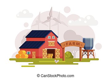 Farm Scene with Red Barn House, Wind Turbine and Water Tower, Summer Rural Landscape, Agriculture and Farming Concept Cartoon Vector Illustration