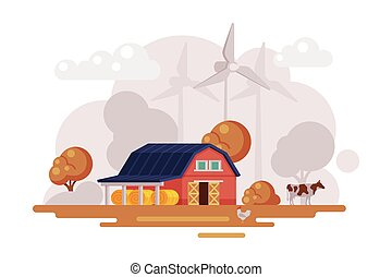 Farm Scene with Red Barn House, Wind Turbines and Grazing Cow at Autumn Rural Landscape, Agriculture and Farming Concept Cartoon Vector Illustration