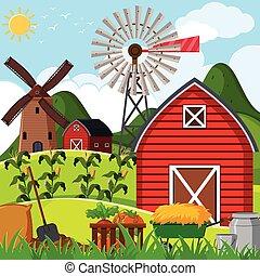 Farm scene with red barn