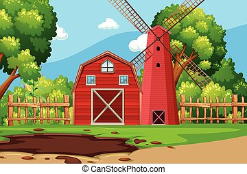 Farm scene with red barn