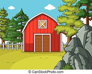 Farm scene with red barn in the field