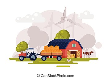 Farm Scene with Red Barn, Wind Turbine and Tractor, Summer Rural Landscape, Agriculture and Farming Concept Cartoon Vector Illustration