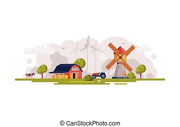 Farm Scene with Red Barn, Windmill and Wind Turbines, Summer Rural Landscape, Agriculture and Farming Concept Cartoon Vector Illustration