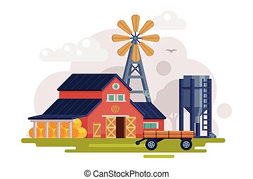 Farm Scene with Red Barn, Windmill Water Pump and Tractor, Summer Rural Landscape, Agriculture and Farming Concept Cartoon Vector Illustration