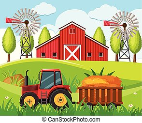 Farm scene with red tractor and barn on the hills