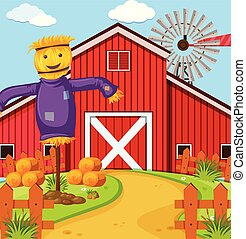 Farm scene with scarecrow and barn