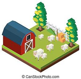 Farm scene with sheeps in 3D design