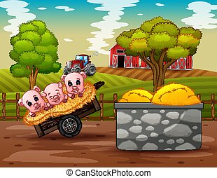 Farm scene with three little pigs on the cart