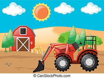 Farm scene with tractor and barn