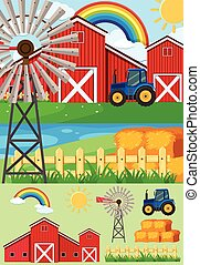 Farm scene with tractor and hay