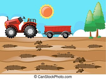 Farm scene with tractor in the field